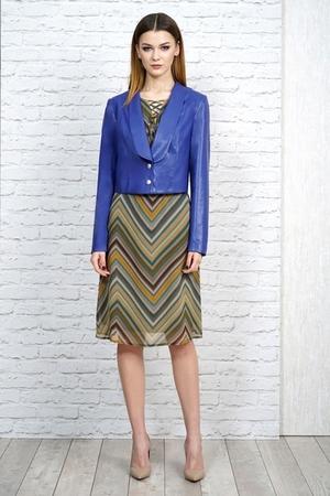 1099 жакет эко кожа синийи шифоновое платье 1