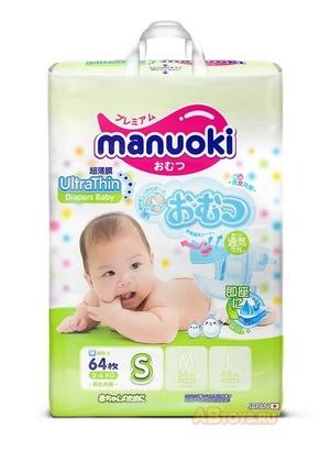 Подгузники MANUOKI Ultrathin S 3-6 кг 64 шт. (Ультратонкая серия)64