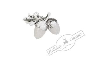 AD1715S Желуди серебристо-белые искристые 9х7 см