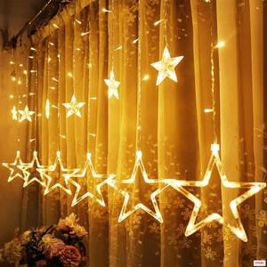 Гирлянда Бахрома с насадками Звезды тепл.бел., 3х0,6м,прозр. шнур                  Код товара: 990549