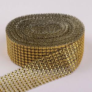 Лента с имитацией страз, 4 см, 9 ± 1 м, цвет золотой