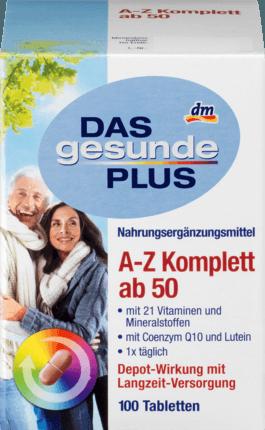 Mivolis A-Z Komplett ab 50 Tabletten Дас Гезунде Плюс, Комплексные витамины с Q10 против старения От А до Z Komplett, для людей старше 50 лет, 100 шт (арт. RM408-02926)