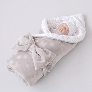 Одеяло на выписку 100х100 «Звездочки», с бантом на резинке демисезонное, серый - 222302(ЗД)-С