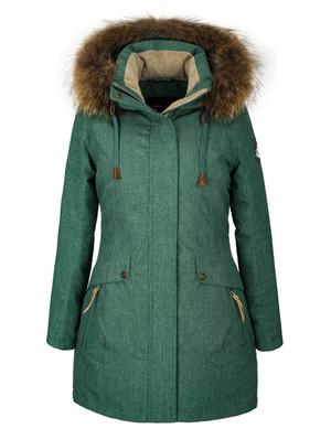 Парка зимняя женская EXP-1 натуральный енот (зеленый)