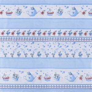 Ткань на отрез бязь 120 гр/м2 детская 150 см 9412 Зайчата цвет голубой