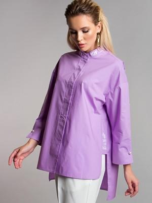 Блуза с надписями цвет cирень Б-115-4