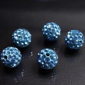 ДШ003НН10 Бусины из полимерной глины и хрустальных страз, цвет: голубой, 10 мм, 5 шт. оптом