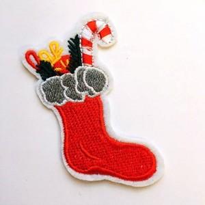 Термоаппликация ТАВ 1830 7,5*3,5см Рождественский носок