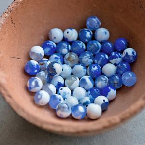 Бусина агат 8, цвет пятнистый бело-синий, колорир., 8 мм