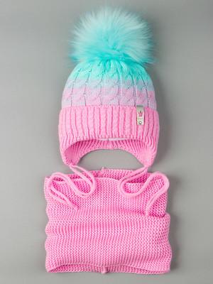 Шапка вязаная для девочки с помпоном на завязках, двухцветная, нашивка корона+снуд,лавандово-розовый