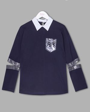 Блузка-обманка Deloras 62478 Синий/Белый школьная одежда
