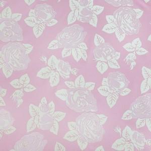 Ткань на отрез Тик 220 см  розы 50% полиэстер 50% хлопок цвет розовый