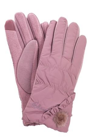 Перчатки женские зимние с мехом, цвет розовый