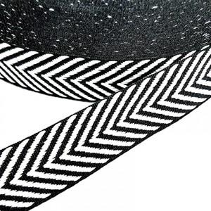 Тесьма черно белая узкие полосы   2,5см 1 метр уп 10 м
