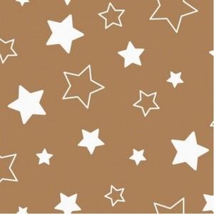 Ткань на отрез бязь 120 гр/м2 детская 150 см 7957 Звездочки на шоколаде