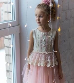 Платье Новелла (лен нарядный с фатином) Л18-6