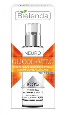 BIELENDA Neuro Glicol+Vit.C Отшелушивающая нейропептидная омолаживающая сыворотка ночная 30 мл