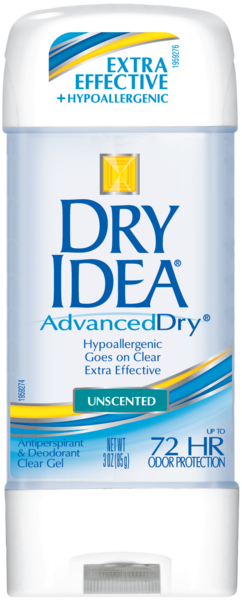 Dry Idea Antiperspirant Deodorant Gel, Unscented, 3 Ounce