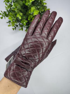 Перчатки женские кожаные (арт. SWW-672 c18 борд-кор)