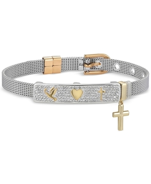 Unwritten Gratitude & Grace Crystal Dove, Heart, and Cross Mesh Bracelet in Fine Silver-Plate & Gold Flash