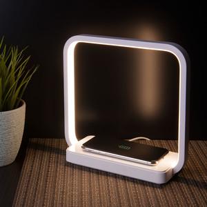 80502/1 белый, Светодиодная настольная лампа с беспроводной зарядкой QI