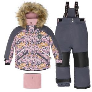 Костюм детский для девочки (куртка+брюки на лямках+манишка)