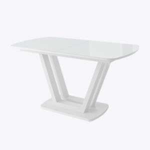 ЛАВИН стол раздвижной со стеклом 140(185)х80, Белый/белый
