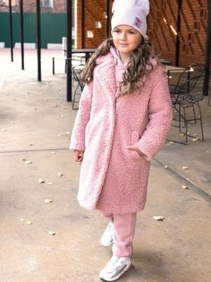 Пальто из искусственного меха 6м1821 пудровый