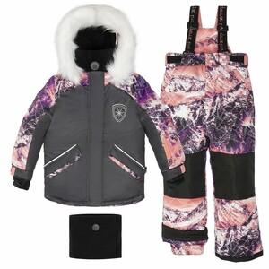 Костюм детский для девочки (куртка+брюки на лямках+манишка+шарф)