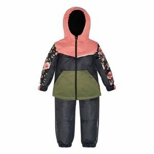 Демисезонный костюм для девочки с утеплителем (куртка + брюки на лямках)