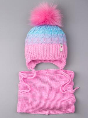 Шапка вязаная для девочки с помпоном на завязках, двухцветная, нашивка корона + снуд, розовый