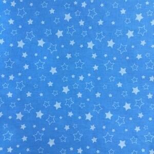 Ткань на отрез бязь 120 гр/м2 детская 150 см 7957 Звездочки на голубом