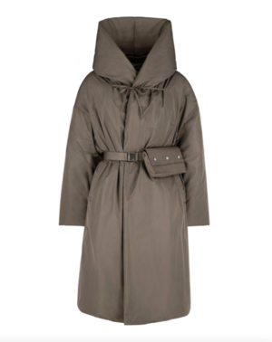 4AW662 Hooded Coat with Down Padding and Belt with Removable Bag
