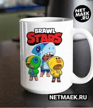Кружка Brawl Stars Леон, Салли Леон , Акула Леон new