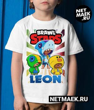 Детская Футболка для мальчика Бравл Старс Леон, Салли Леон, Акула Леон