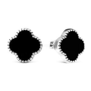 Серьги-пусеты из серебра с чёрным ониксом родированные ПС-040р