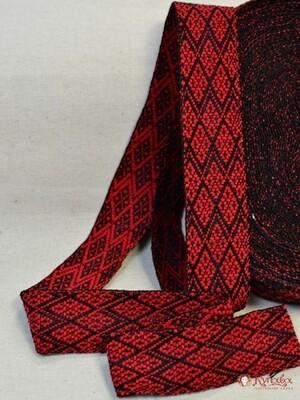 Лента тканая (для поясов) красный орнамент на черном