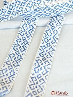 Лента тканая (для поясов 48мм) Синий узор на молочном