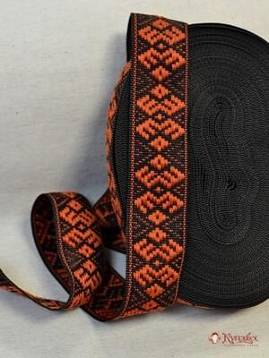 Лента тканая (для поясов 42мм) Оранжевый орнамент на черном.