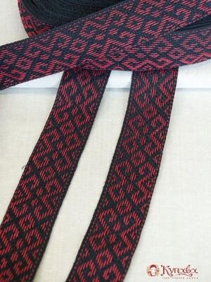 Лента тканая (для поясов 54мм) Красный узор на черном
