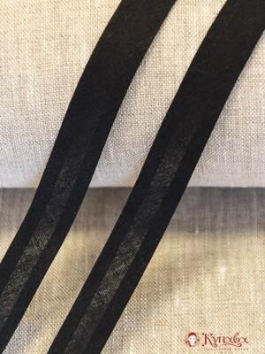 Косая бейка, цв. черный 15 мм, хлопок-100%