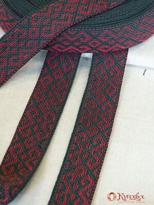 Лента тканая (для поясов) Красный узор на черно-сером