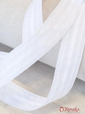 Лента шторная  40 мм, цв. белый (матовая) свободная сборка