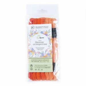 Нитки мулине Цветик-семицветик 10м ПНК набор 7 мотков 2 оранжевый лепесток