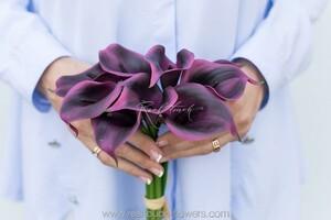 Букет калл 9 штук - Темно-фиолетовый (арт. CA-34/5,5-PVC-631)