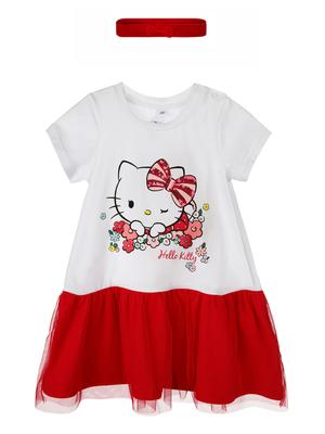 Комплект трикотажный для девочек: платье, повязка