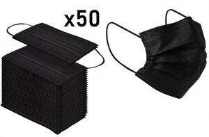 Маски защитные одноразовые трёхслойные черные (50 шт)