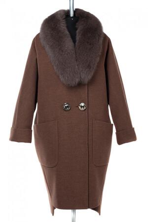 02-2913 Пальто женское утепленное Микроворса коричневый