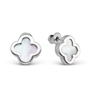 Серьги-пусеты из серебра с белым перламутром родированные 421-10-402-1р