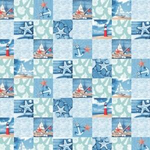 Ткань на отрез вафельное полотно набивное 150 см 3012-1 Маяк цвет голубой